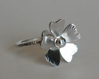 Rustic Silver Poppy Ring, Poppy Jewelry, Silver Ring, Metal Poppy Jewelry, Hammered Silver Ring, Rustic Ring, Gift for Her, Sterling Silver