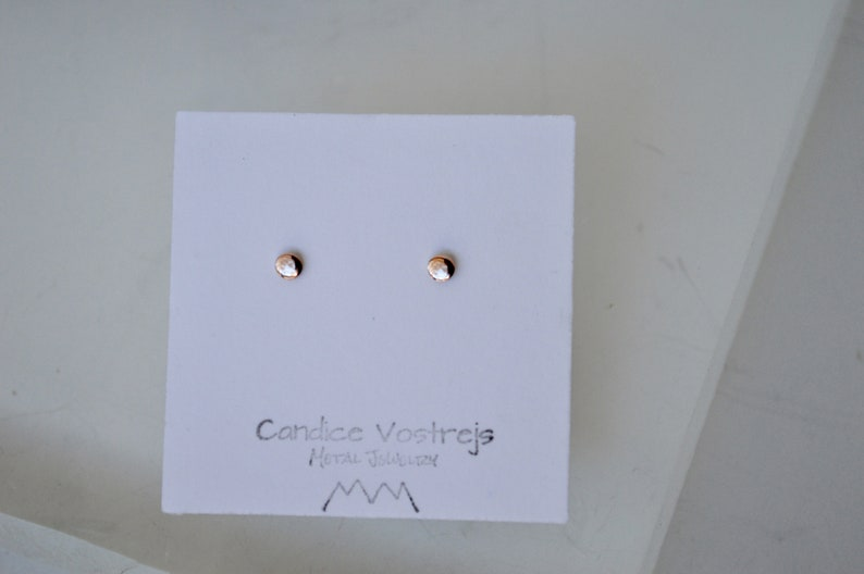 Rose Gold Jewelry Everyday Earrings Pink Gold Earrings Tiny 3mm Minimal Solid Rose Gold Dot Stud Earrings Real Gold Modern Earrings