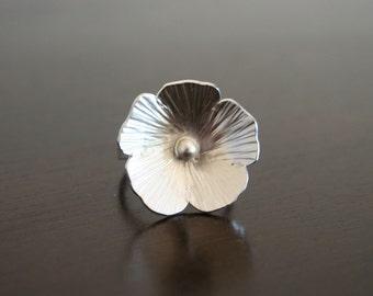 Silver Poppy Ring, Poppy Jewelry, Statement Ring, Statement Jewelry, Silver Flower RIng, Silver Jewelry, Handmade Metal Ring, Poppy, Flower