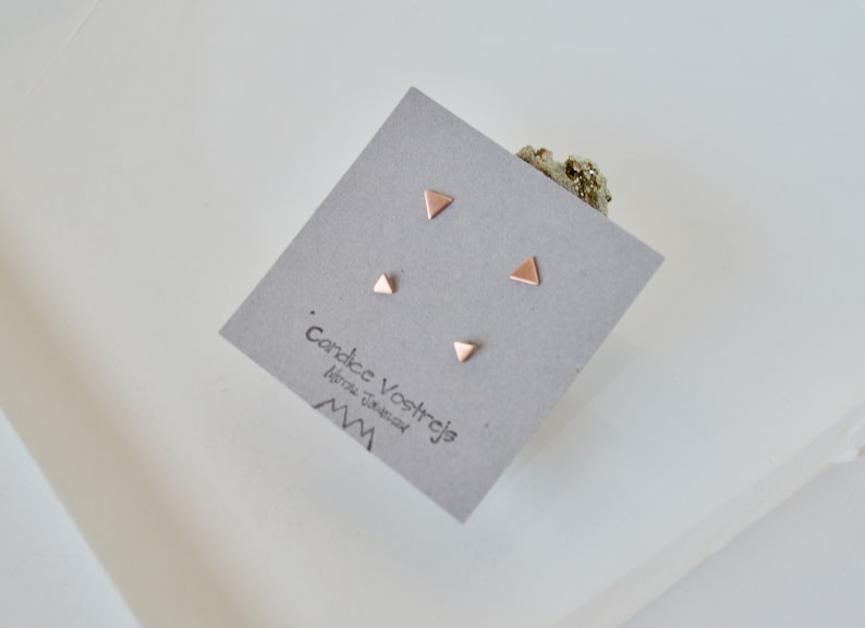 6f8bbd36 Rose Gold Filled Tiny Triangle Stud Earring Set, Two Pairs, 3mm Earrings,  4mm Earrings, Gold Filled, Tiny Stud Earrings, Small Stud Earrings