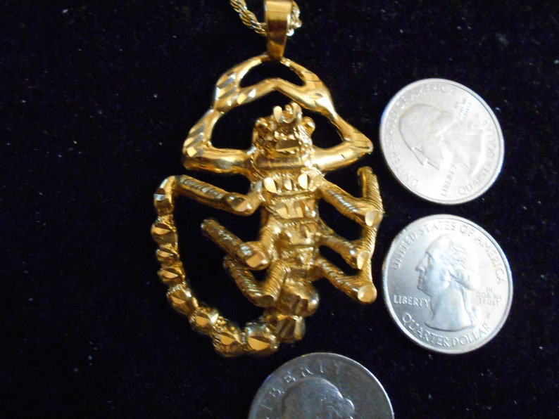 bling vintage gold plated overlay bonded clad scorpion scorpio zodiac astrology pendant charm necklace hip hop myth jewelry witch bug insect