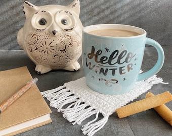 White Cotton Mug Rug, Mug Coaster, Crochet Coaster, Cute Crochet, Yarn, Decor, Farmhouse, Country, Mug Rug