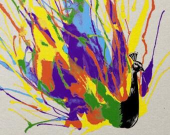 Colorful Peacock Print / Bird Print / Paint Splatter Print / Peacock Wall Art / Beautiful Print / Home Decor / 8 x 10