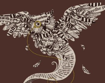 Flow of Wisdom / Paper Owl Print / Book Owl Print / Literature Artwork / Beautiful Print / Book Pages Print / Home Decor / 8 x 10