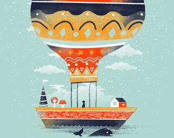 Fly Me to the Moon / Ballon Print / Balloon House Print / Whale Wall Art / Beautiful Print / Floating House Print / Home Decor / 8 x 10