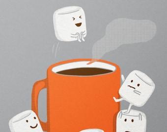 Marshmallow Print / Cannonball Print / Hot Chocolate Print / Food Wall Art / Funny Print / Home Decor / 8 x 10