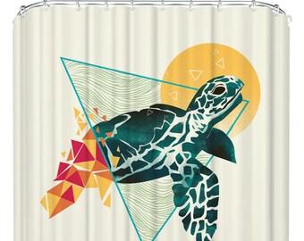 Turtle Bathtub Curtain With Hooks Shower Geometric Bathroom Ocean Decor 71 X 74 Inches