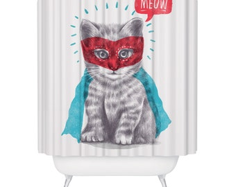 Cat Shower Curtain Funny Superhero Kitten Waterproof Meow Bathroom Kitty Kids Decor Mould Resistant