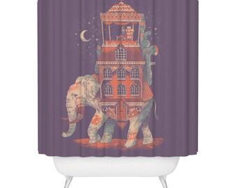 Boho Bathroom Decor Elephant Shower Curtain Indian Style | Etsy
