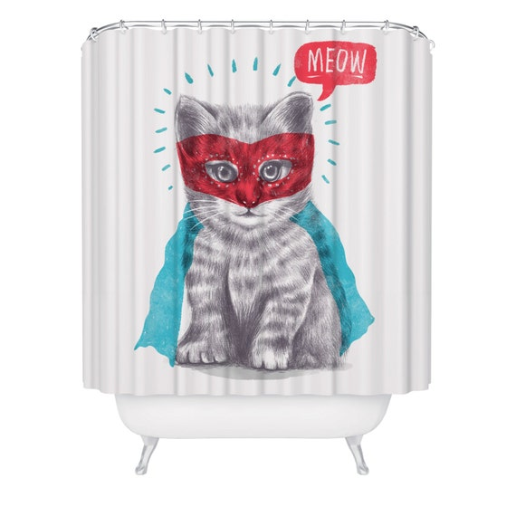 Cat Shower Curtain Funny Superhero Kitten Waterproof Meow Bathroom