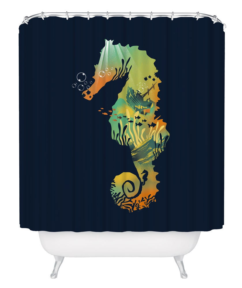 Seahorse Shower Curtain Bathtub With Hooks