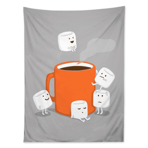 Marshmallow Cannonball Shower Curtain Hot Chocolate Cocoa Art Fabric Made In USA