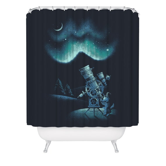 Fox Shower Curtain Stargazing Astronomy Bathtub