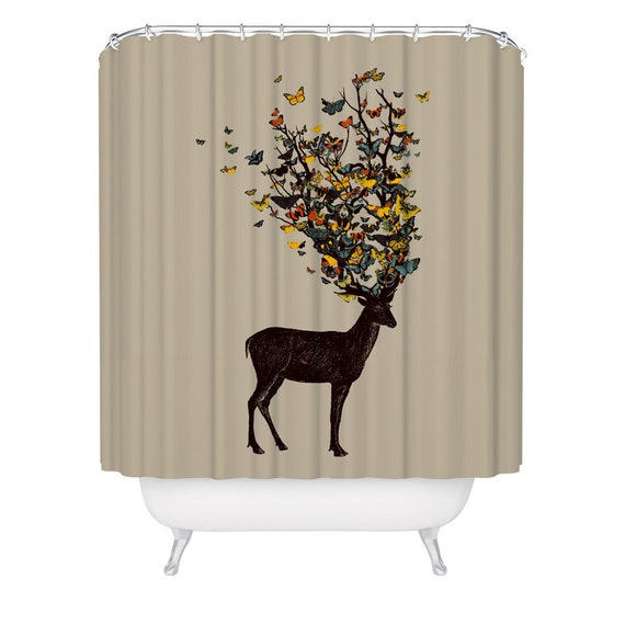 Animal Deers With Fall Woods Waterproof Fabric Bathroom Shower Curtain 71Inches