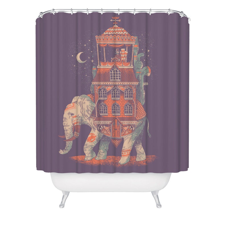 Elephant Shower Curtain Boho Bathroom Decor Indian Theme