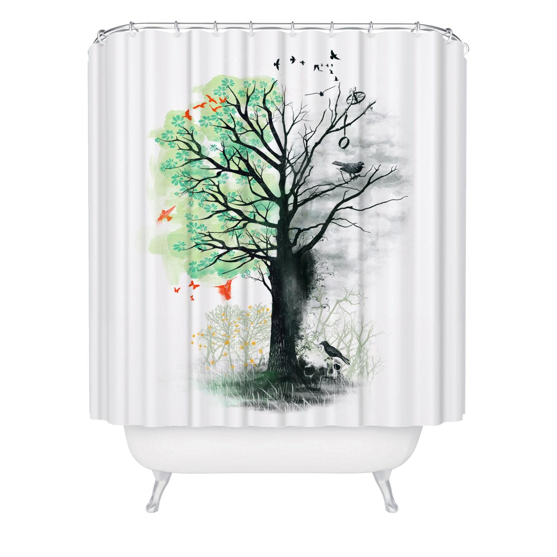 Unusual Shower Curtain Tree Bathroom Decor Tree Wetroom
