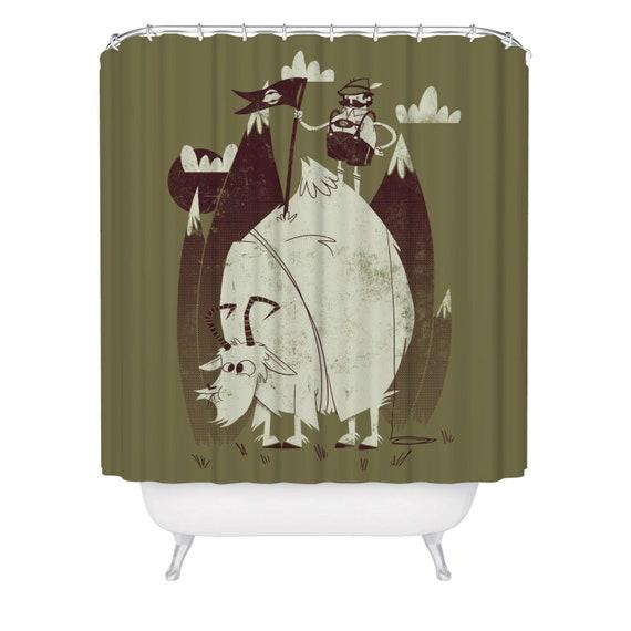 Animal Shower Curtain Farm Life with Goats Print for Bathroom