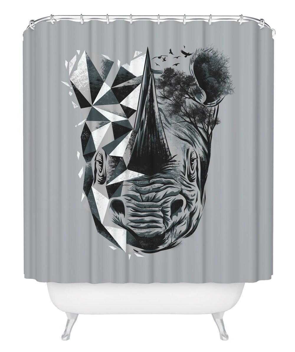 Rhinoceros Shower Curtain Geometric Rhino Bathroom Curtain Rhinoceros Bathtub Curtain With Hooks Safari Bathroom Decor 71 X 74 Inches
