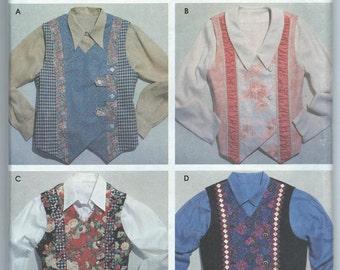 Simplicity 7231 Misses' Vests - Size XS-S-M-L-XL - Uncut Vintage Pattern