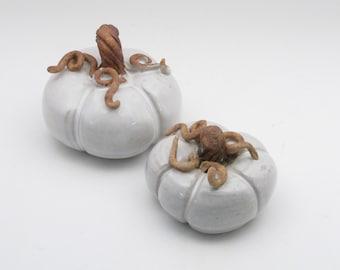 White Ceramic Pumpkin, Autumn Harvest, Fall Decoration, Handmade Pumpkin, Stoneware Pumpkin, Halloween, Table Decoration, PMK1, PMK2
