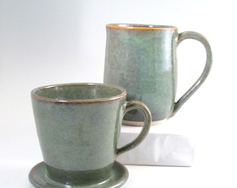 Coffee Pour Over Set, Drip Coffee Maker, Mossy Green Coffee Maker, Mug and Pour Over, Stoneware Coffee Brewer, Mug and Coffee Maker,POS5