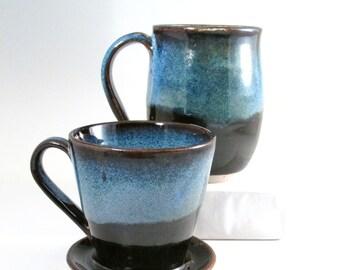 Coffee Pour Over Set, Drip Coffee Maker, Blue Coffee Maker, Mug and Pour Over, Stoneware Coffee Brewer, Mug and Coffee Maker,POS4