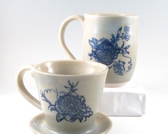 Coffee Pour Over Set, Drip Coffee Maker, Blue Floral Coffee Maker, Mug and Pour Over, Stoneware Coffee Brewer, Mug and Coffee Maker,POS3