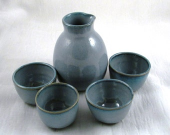 Five Piece Ceramic Sake Set - Bottle and 4 Cups Blue - Handmade Wheel thrown  Stoneware Ceramics   Pottery