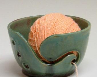 Ceramic Yarn Bowl, Yarn Keeper, Green Yarn Bowl, Green Red Bowl, Knitting Holder, Wheel Thrown Yarn Bowl, Hand Carved, Pottery Yarn Bowl,
