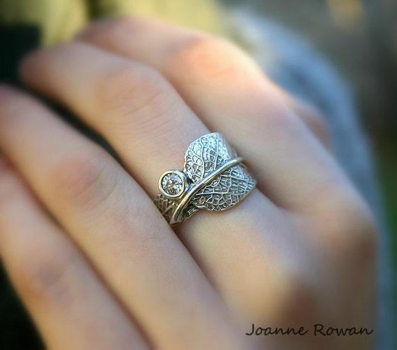 Band Sage ZirconiaAlternate SilverCubic Leaf Wedding RingSterling fvgIb76Yy
