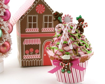 gingerbread men fake cupcake with gingerbread house box candy land christmas decor secret santa gift stocking stuffer holiday photo prop - Gingerbread House Christmas Decoration