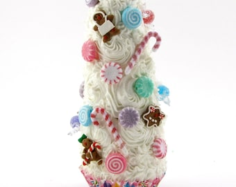 gingerbread man candy land inspired swirly white cupcake tree approx 9 h fab decor for candy buffets christmas villages 12 legs design - Gingerbread Christmas Decorations