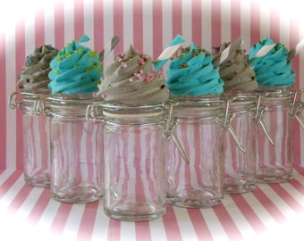 Turquoise and Gray Birthday or Baby Shower Favor Jar Collection Set 6 Orig. 12 Legs Concept Fab Birthday Favor/Decor Idea