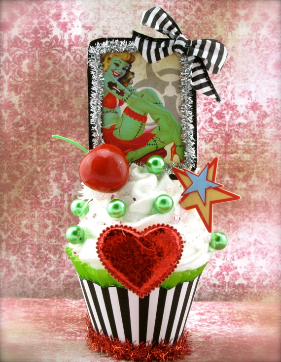 zombie pin up girl fake cupcake decor cupcakes make etsy