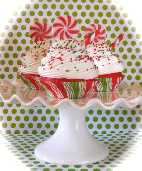 Peppermint Candy Ornaments Fake Cupcake Old Etsy