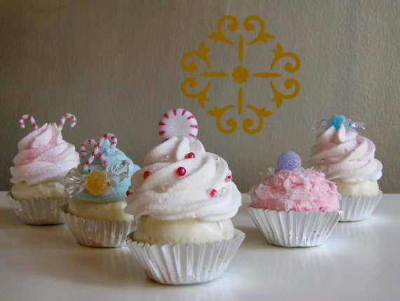 image 0 - Fake Mini Cupcake Christmas Ornaments Sugar Plum Fairy Candy Etsy