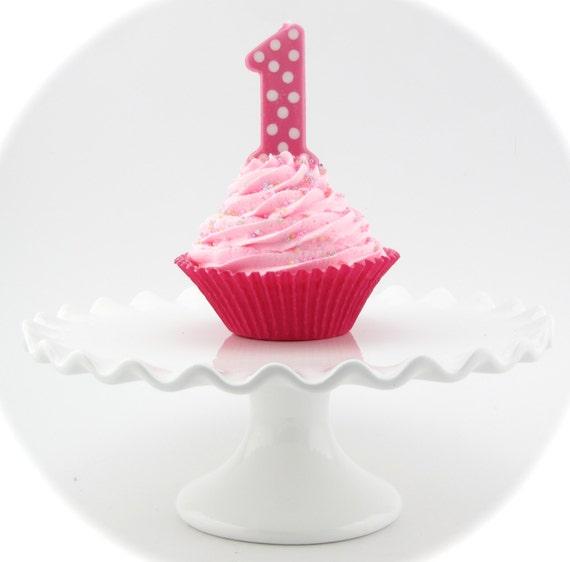 Pink 1st Birthday Polka Dot Candle: Fake Cupcake First Birthday Girl Jumbo Cupcake