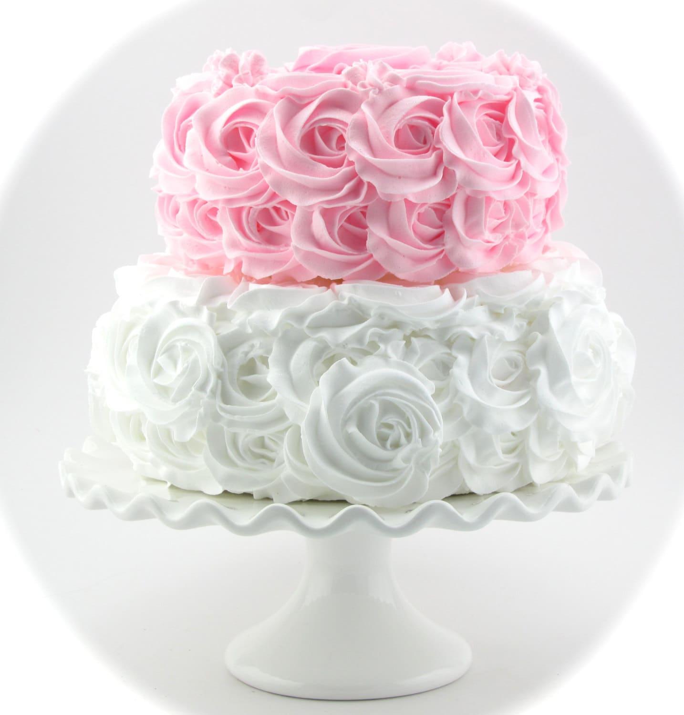 Rosette Fake Cake. Pink & White Stackable Rosette Cake. 2 Tier | Etsy
