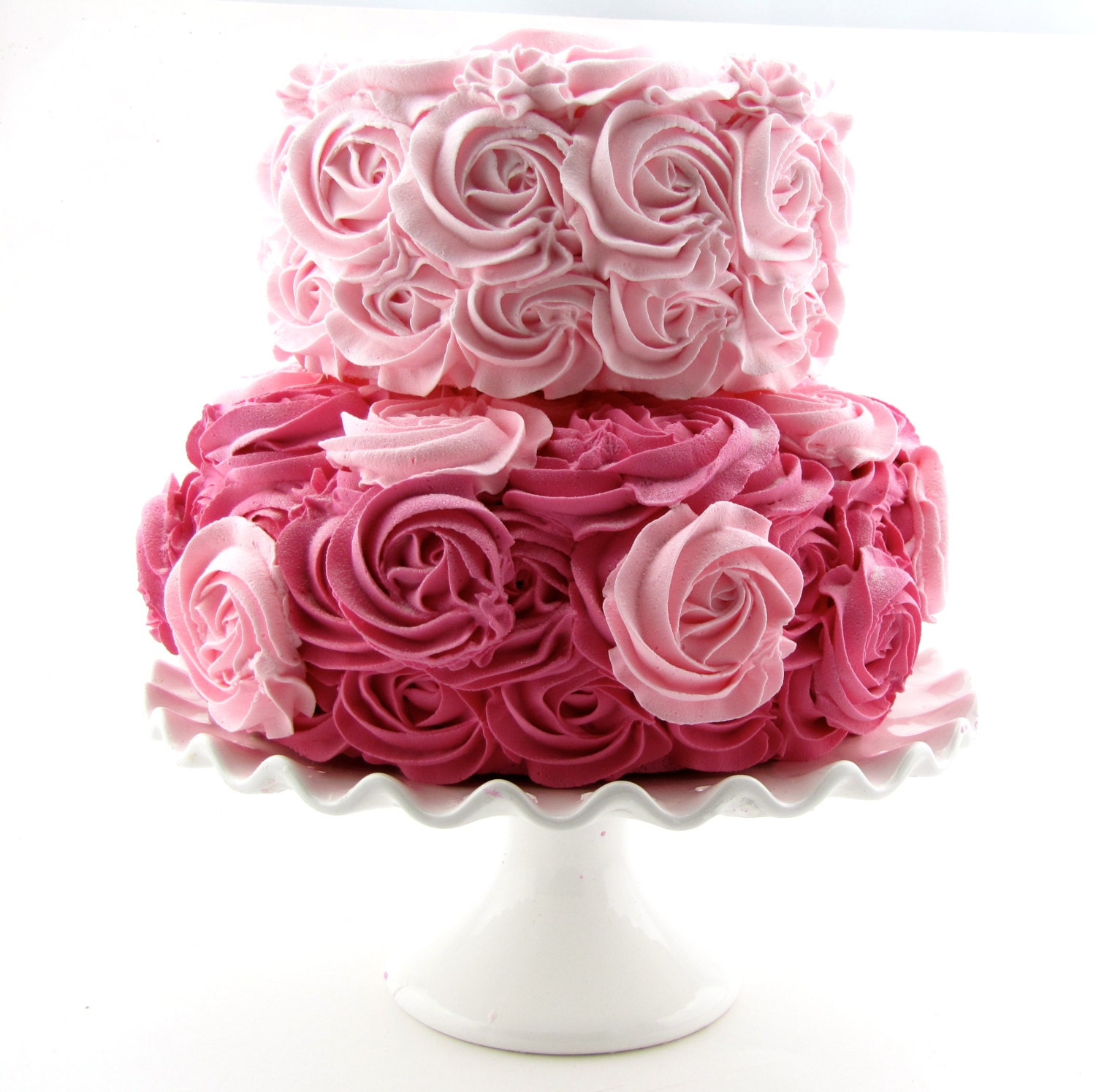 Pink Hot Rosette Fake Cake Stackable 2 Tier Bottom