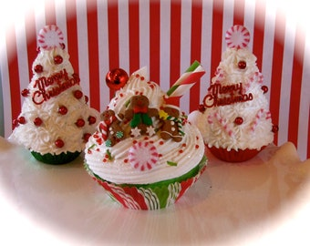 "Fake Cupcake ""Kitschy Christmas Cupcake Ornament Collection"" ""Gingerbread Mountain"" 12 Legs Original Holiday Decor"