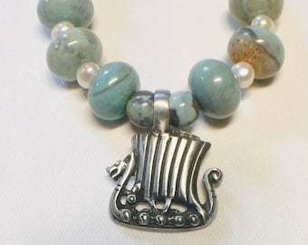 Arctic Terra Agate with Viking Ship