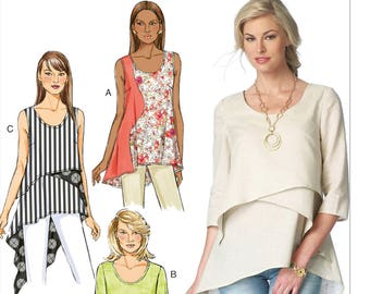 Misses' Shirt, Asymmetrical-Overlay, Pull Over Top, Butterick B6172 Pattern, Loose-fitting Tops with Sleeve Variations Sizes 6 -14 or 14 -22
