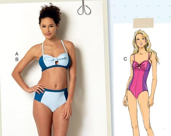 747f416303352 Butterick 6358 Sewing Pattern, OOP Misses' Tie Bikini and One-Piece Swimsuit  Pattern, Halter Swimsuit Top & Bottom,- Sizes: 12 -20