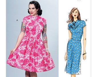 Misses' Dresses with Mandarin Collar, Dress Pattern, Butterick B6483 Sewing Pattern, Sizes 6 -8 -10 -12 -14 or 14 -16 -18 -20 -22