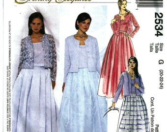 OOP Evening 2 Piece Dresses McCalls 2534 Sewing Pattern Sizes 20 22 24 Wedding Mother Of The Bride Prom FREE Shipping