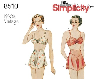 87f7068b5a669 Misses RETRO 1930 s - Brassiere and Panties Pattern