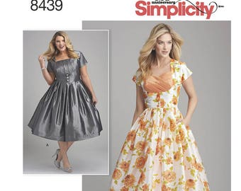 Retro Style Dress Pattern - Misses' & Plus Size - Simplicity 8439 Sewing Pattern, NEW UNCUT- US Sizes 10 - 18 or 20w -28w