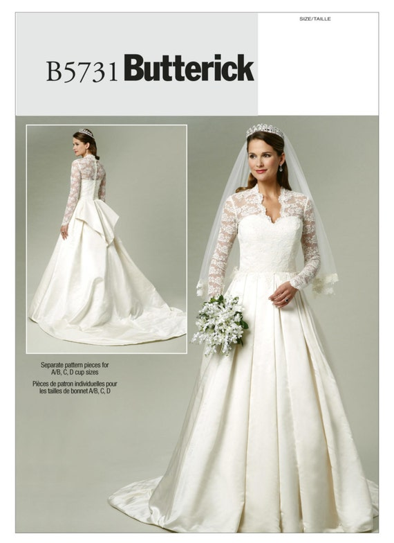 Bridal Dress Sewing Pattern -Butterick B5731 - Wedding Gown with ...