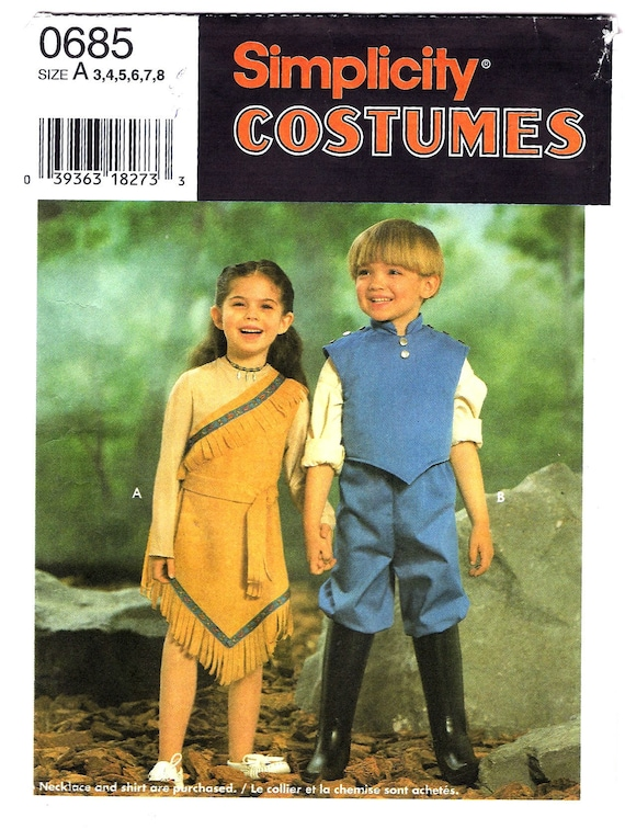 OOP Pocahontas and John Smith Costume Pattern - Simplicity 9736 ...