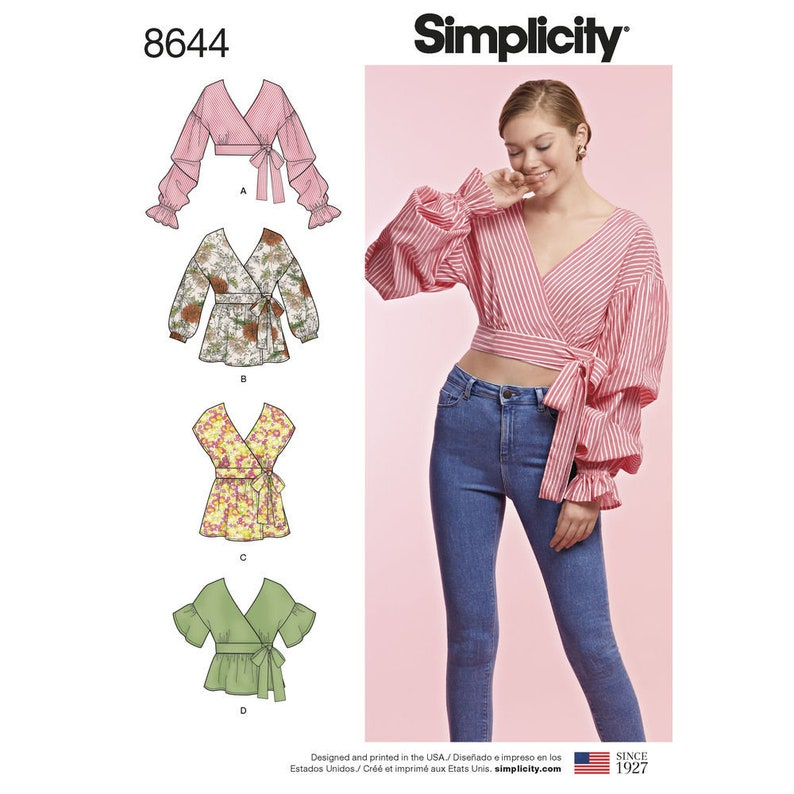76a1174075e46 Simplicity 8644 Sewing Pattern Misses Wrap Tops Sewing